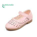 New Girls Shoes leather shoes Cut-outs pearl For Kids Autumn Shoes sweet girls Princess dance shoes sandals