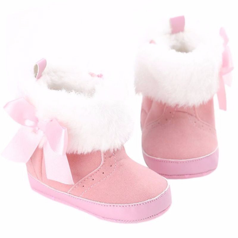 Infant Girl Bowknot Fleece Snow Boots Toddler Warm Boots Princess Crib Shoes Baby Moccasins Shoes A