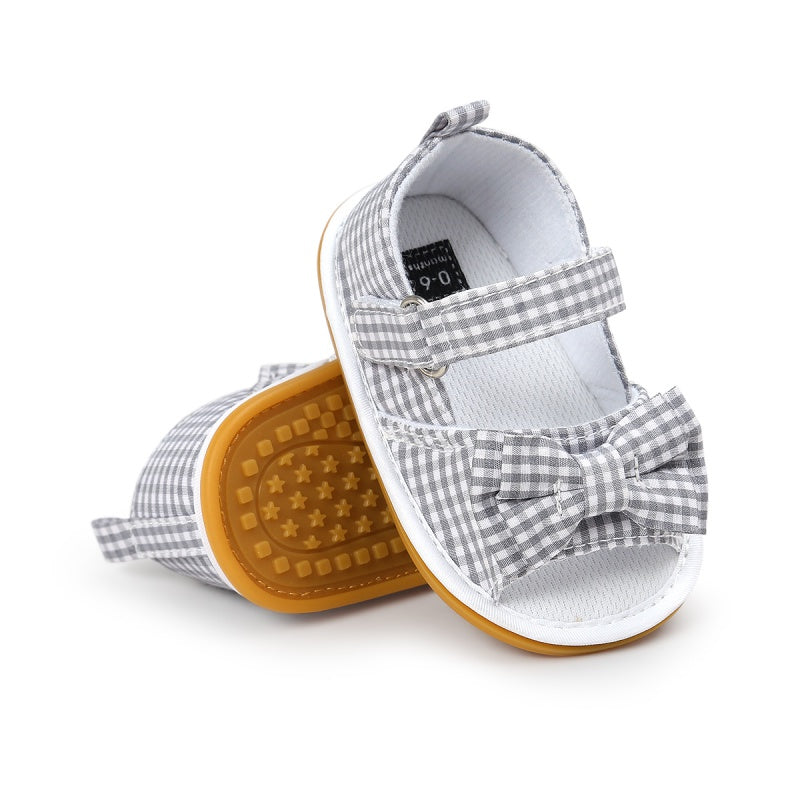 Newborn Baby Girls Bow Anti-slip Cotton Crib Shoes Summer Sandal Prewalker 0-18MH3 A