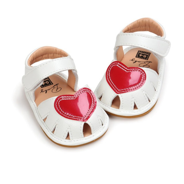 baby Girls sandals Princess Style Kids Cute Heart Pattern sandal Anti-skid PU Leather Breathable Baby Shoes 0-18M