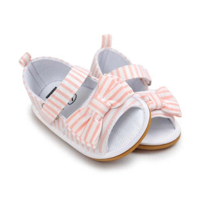 Newborn Baby Girls Bow Anti-slip Cotton Crib Shoes Summer Sandal Prewalker 0-18MH3