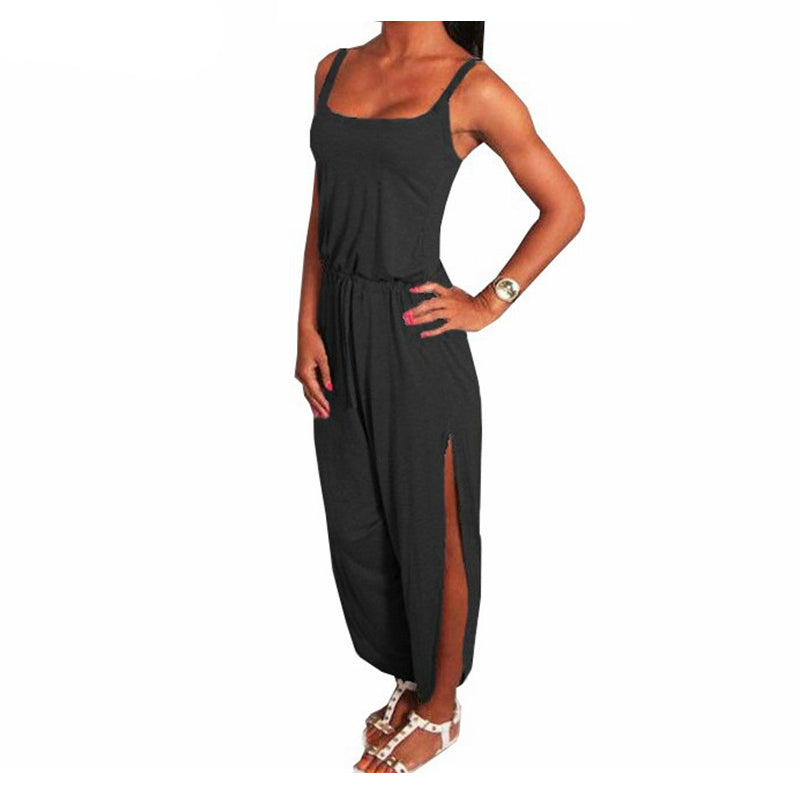 Summer Rompers Womens Jumpsuit   Spaghetti Strap Sleeveless Split Overalls Long Playsuit