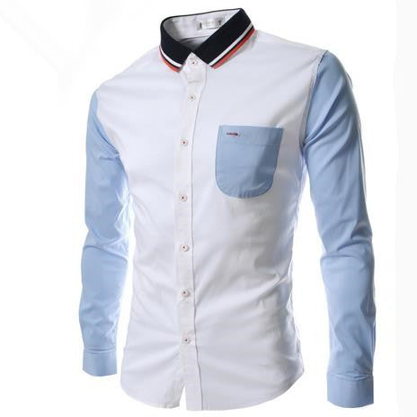 Men's Western Fashion Stripes Closure Long Sleeve Shirts , Mens Dress Asian Size M-2xl,g2914