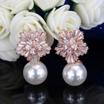 CWWZircons Snow Flower Design Women Big Drop White Pearl Earrings With Cubic Zirconia Christmas Gift