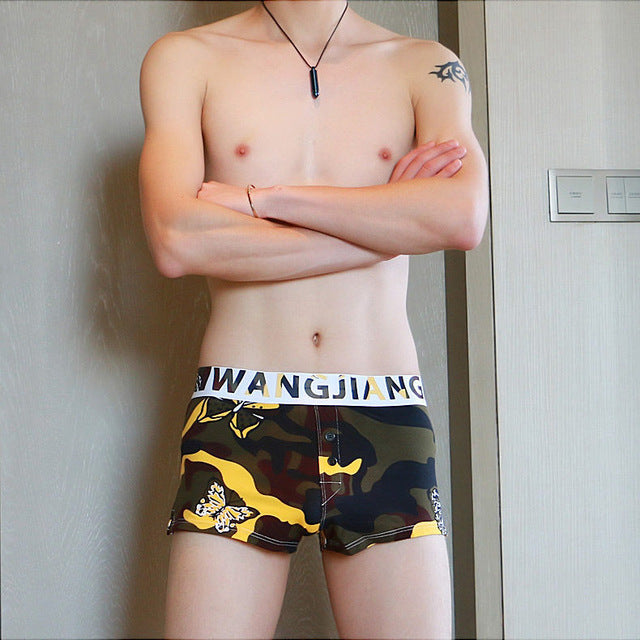 Sexy Brand Boxer Print Penis Pouch Home Man Seamless Shorts Sleepwear Sleep Bottom Trunks Mid Loose Boxer Shorts