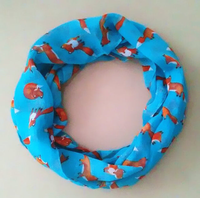 8 Colors new fashion baby scarf children collar spring new design cute patterns warm small fox print child neckerchief
