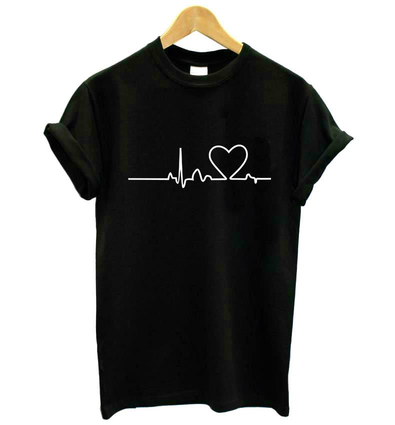 Women's Heartbeat Love Print Cotton T-Shirt