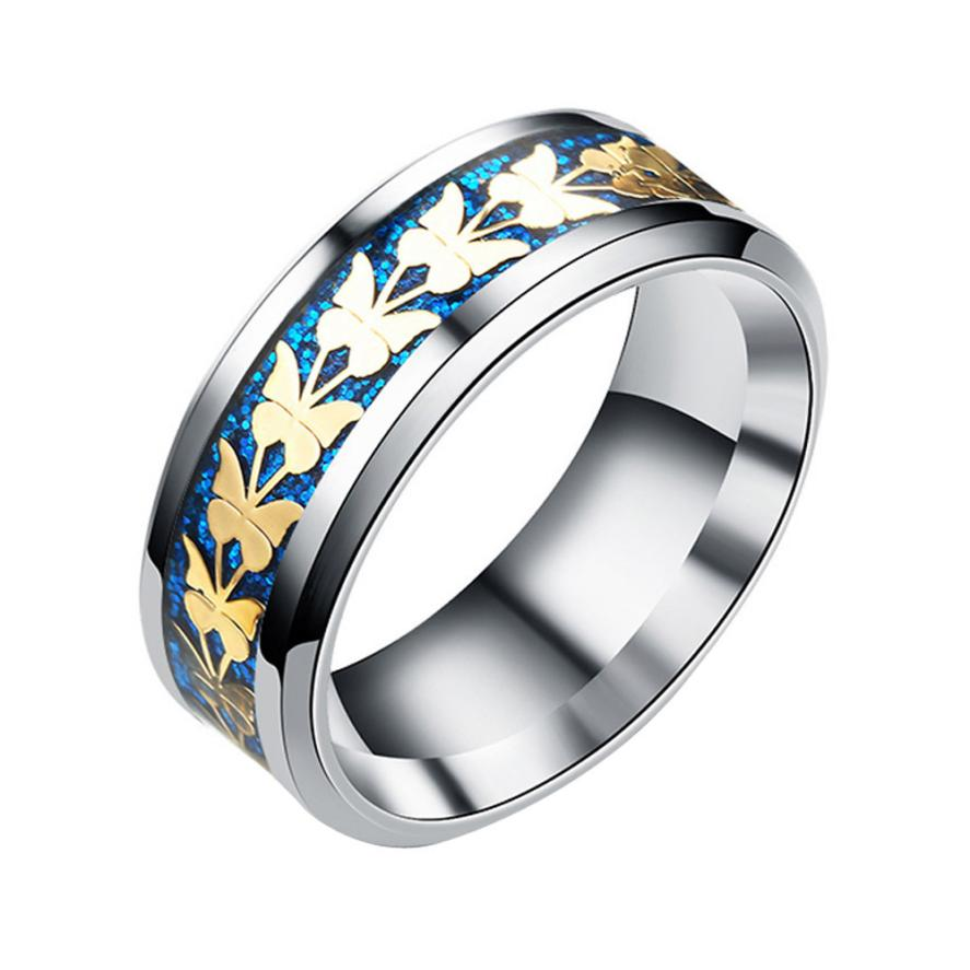 Stainless Steel Vintage Bohemian Butterfly Totem Ring