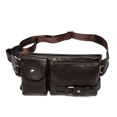 Men's Leather Waist Strap Travel Bag
