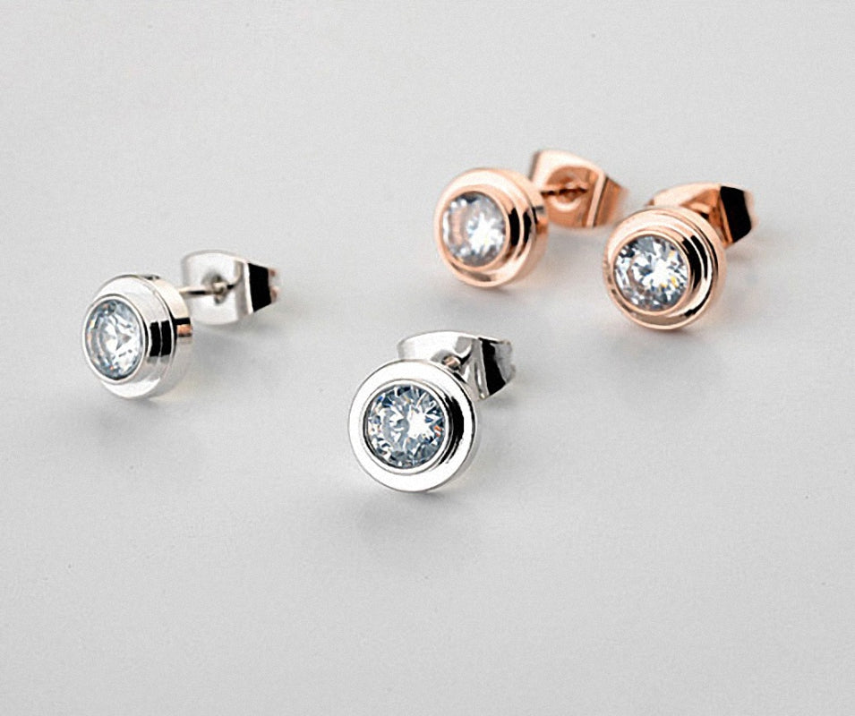 Brand TracysWing Simple Fashion Trendy Stud Earrings for women  Austrian Crystal  Gold Color   Copper Zirconia  # RG881142White