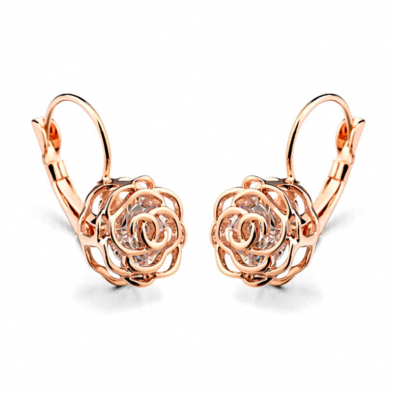 TRACYSWING Big Brand Austrian AAA Zirconia Rose Gold Color Flower Rose Earrings for Women Valentine Gift TWE86713