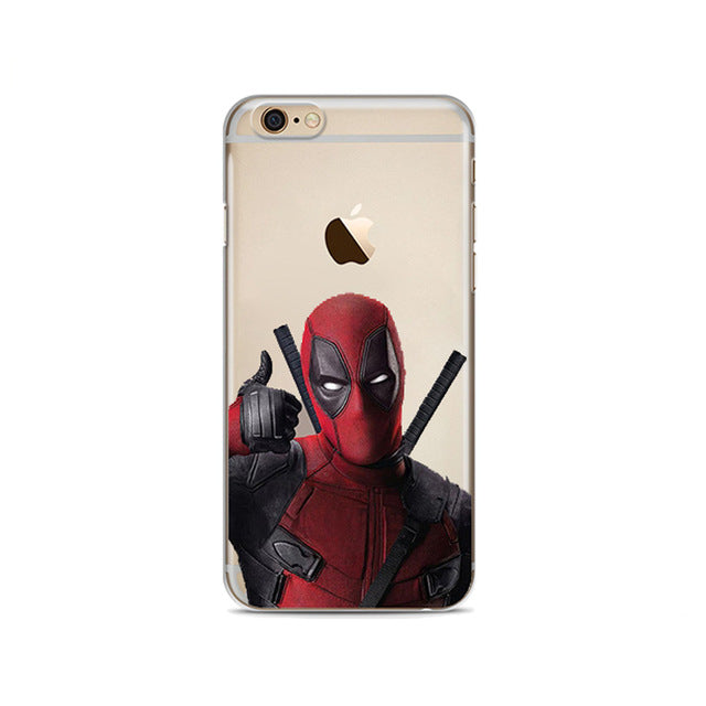 Super Cool Marvel Deadpool Super Hero Soft silicone Phone Case Cover For iphone 8 8Plus 7 7Plus 6 6S 6Plus 5 5S SE