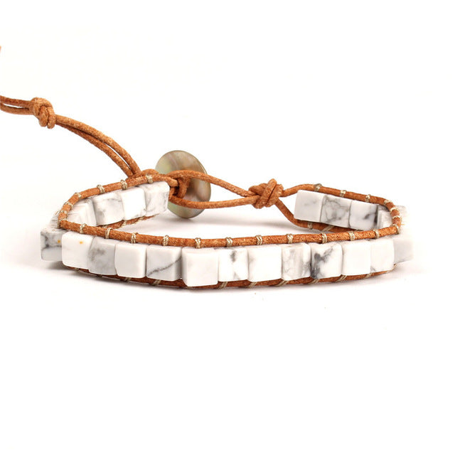 Colorful Dice Shape Natural Stone Single Leather Wrap Bracelet