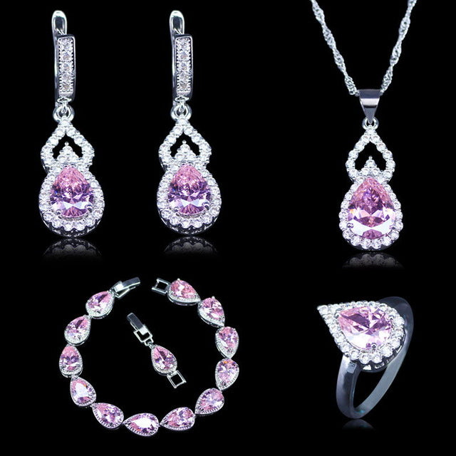 Vintage Russian Style Cubic Zirconia 925 Stamp Silver Color Jewelry 4pcs Pink Crystal Stone Sets For Women Bracelets Sets