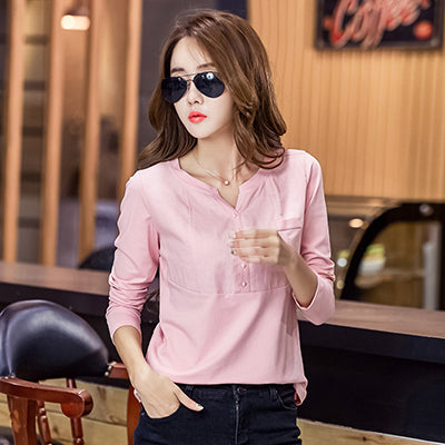 Blusas Mujer De Moda Chemise Femme Womens Tops And Blouses Office Blouse Women Ladies Linen Shirts Pink Shirt Plus Size