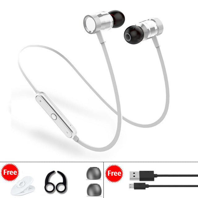 Metal Wireless Bluetooth Sport Headphones with Built-In Mic