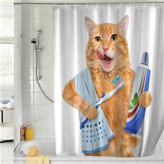 Curtain | Shower | Teeth | Brush | Print | High | Cat | 3D