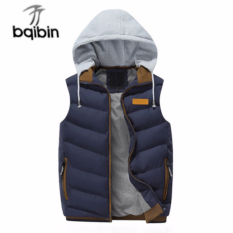 Men's Casual Cotton-Padded Warm Hoodie Vest