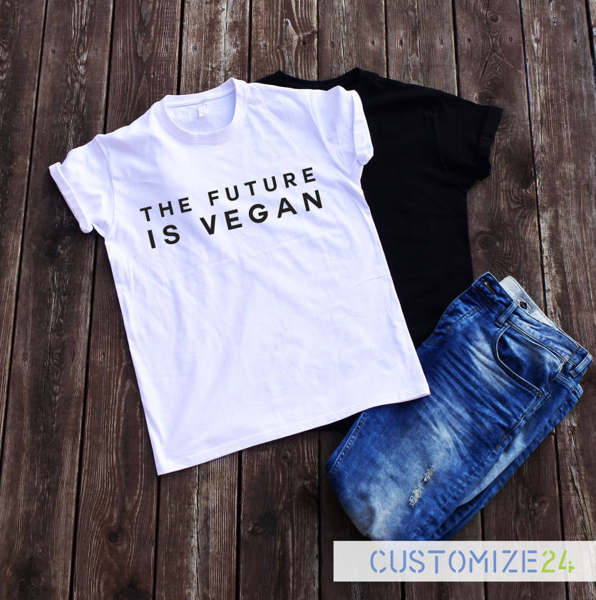 The Future Is Vegan Tshirt Funny Cute Shirt Tumblr Casual Fashion Tees Tops Letter Print Hipster Streetwear Women Cotton Sleeves