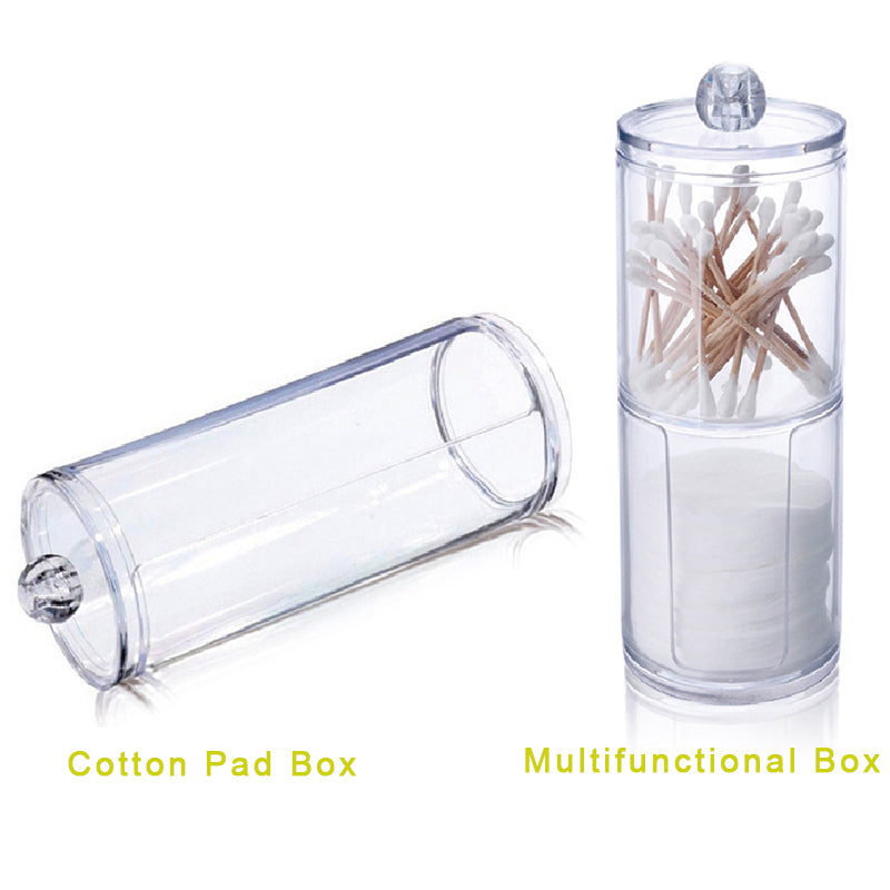 Small Cylindrical Acrylic Makeup Cotton Storage Boxes