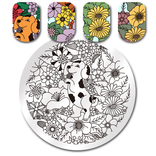 NICOLE DIARY Round Stamping Plate Rose Heart Kiss Love Butterfly Unicorn Animal Dog Cat Flower Manicure Nail Art Image Plate