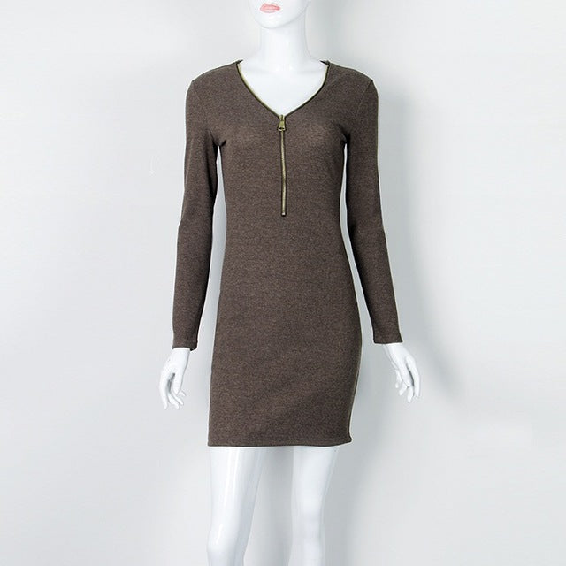 Autumn Dress Knitting Women Dresses Zipper O-neck Sexy Knitted Dress Long Sleeve Bodycon Sheath Pack Hip Dress