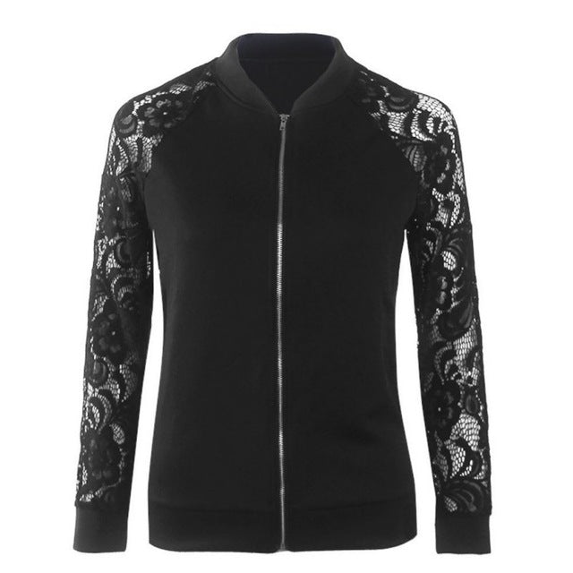 Bomber Jacket Women Basic Coats Fashion Lace Long Sleeve Zipper Jacket Coat Outwear
