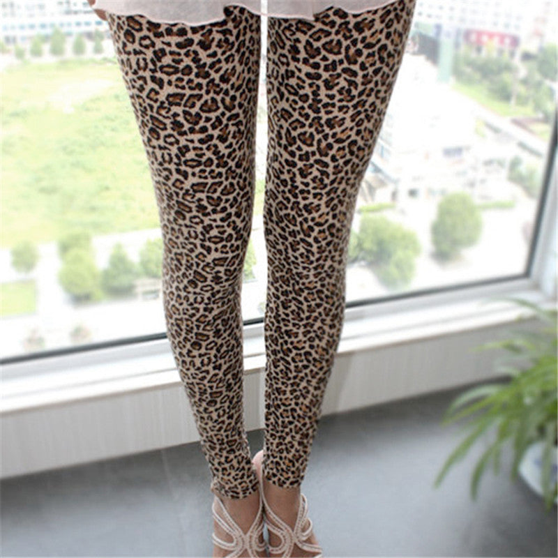 European Stylish Trousers For Women, Sexy Women Girls Leopard Stretch Leggings Ninth Pants pantalon femme
