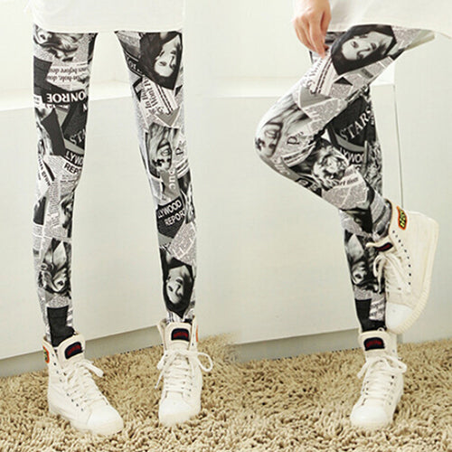 Women Fashion Punk Newspaper Printed Graffiti Stretchy Sexy Pencil Skinny Pants