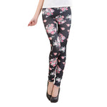 Fashion New Summer Womens New Style Retro Rose Flower Print Elastic Thin Leggings Pants For Women