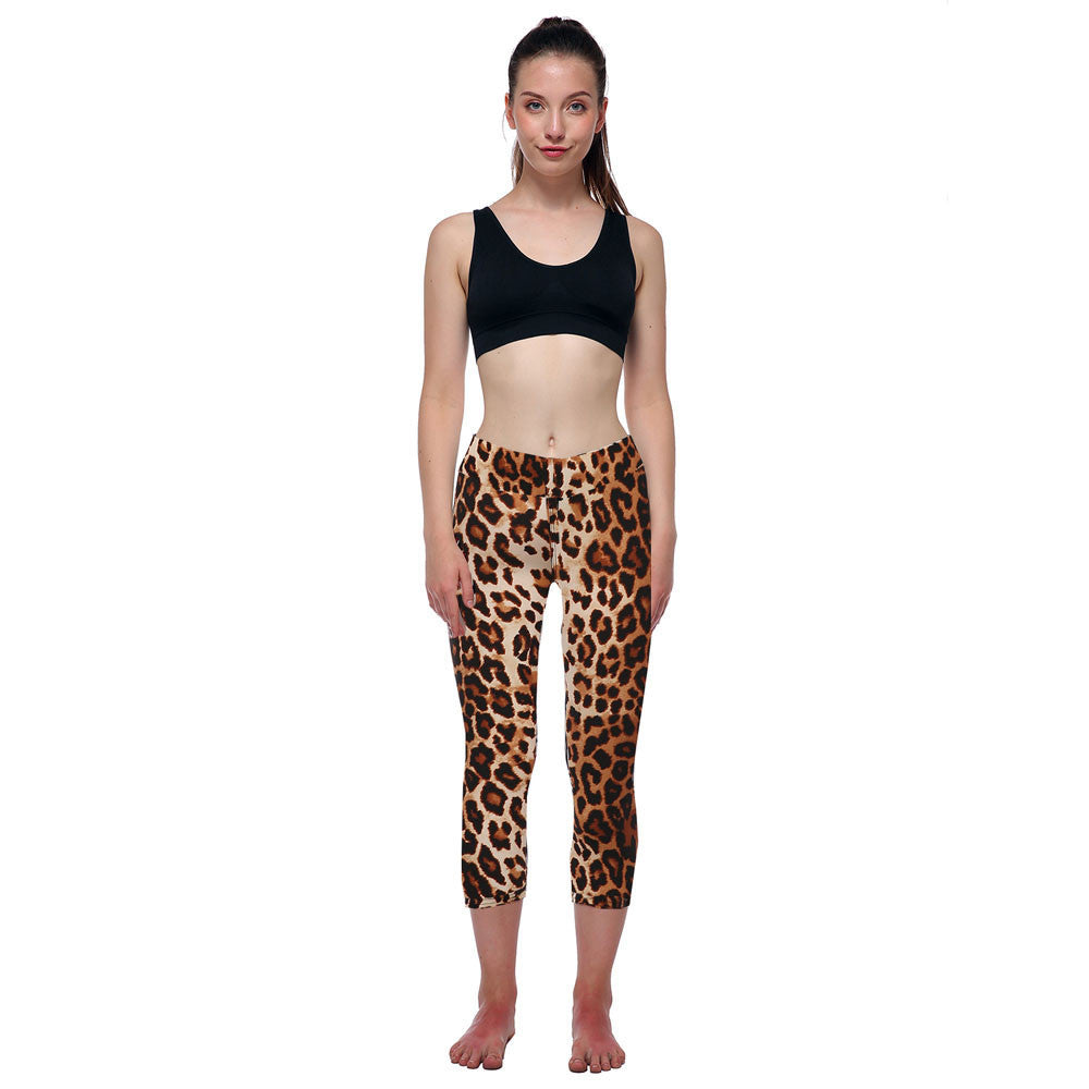 New Casual and Fashion Women Autumn Long Trousers Hight Waist Leopard Pants Ladies Sporting Printed Stretch Cropped Leggings