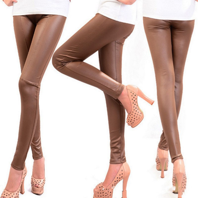 WJ Atumn Winter Korean Fashion Faux Leather Trousers Women New Sexy Skinny PU Leggings Pants Pantalon Femme