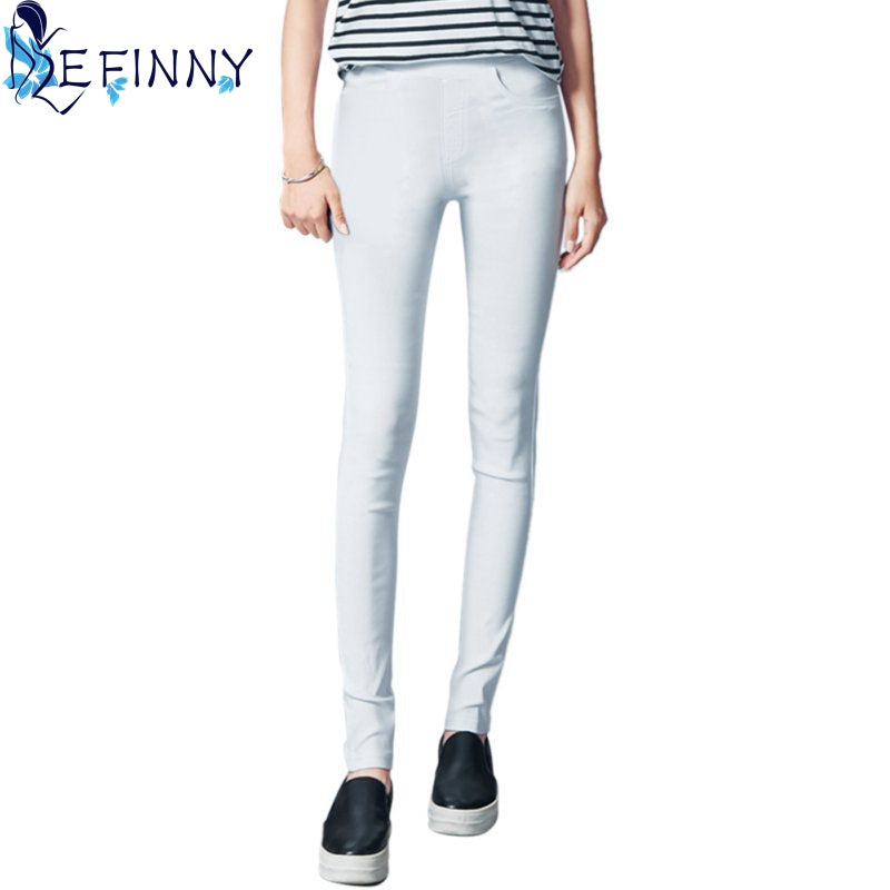Women  Pencil Pants Casual Elastic Waist Skinny Trousers Black White Stretch Pants