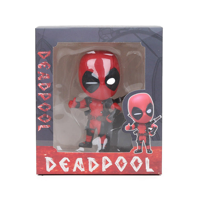 New 10cm Marvel Toys Deadpool Figure Bobble-Head 1/10 Scale Painted Wade Winston Wilson Superhero Collectible Model Dolls Toy