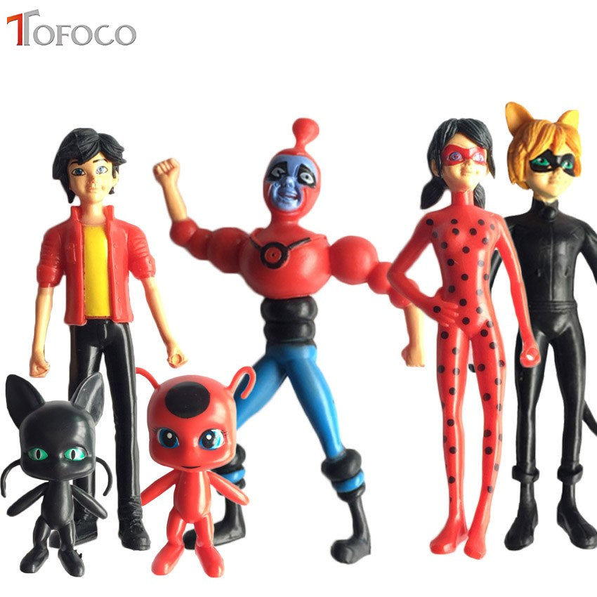 6pcs/Set Miraculous Ladybug and Cat Noir Doll Action Figures
