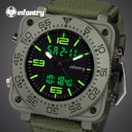 INFANTRY Top Brand Men Watch Sports Military Tactical Quartz Watches LED Analog Digital Durable Nylon Strap Wristwatches
