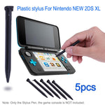 5Pcs Plastic Stylus Pen Game Console Screen Touch Pen for Nintendo New Lapiz Tactil for 2DS XL / LL Game Console Black White
