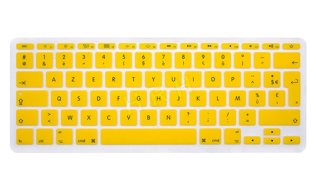 "HRH French UK/EU Silicone Soft Color AZERTY Keyboard Cover Skin Protector For Apple Mac MacBook Air 11"" 11.6 inch A1465/A1370"