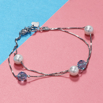 LARGERLOF Women 925 Silver Jewelry Pearl Bracelet Female Fashion Jewelry 925 Sterling silver Bracelets For Women BR49001