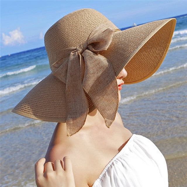 Women's Large Brim Straw Beach Hat with Bowknot