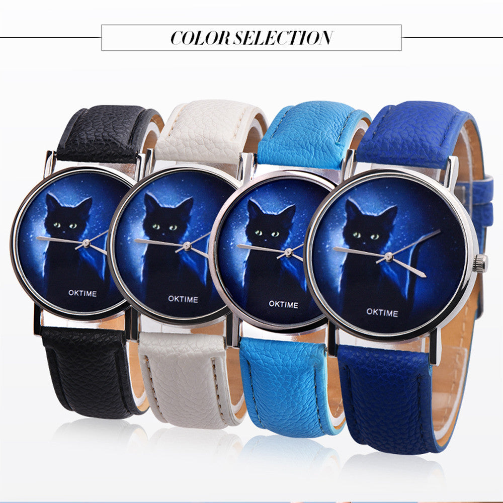 Womens Mysterious Black Cat Faux Leather Analog Quartz Watch dames horloges relojes de mujer envio gratis in Sixteen Colour
