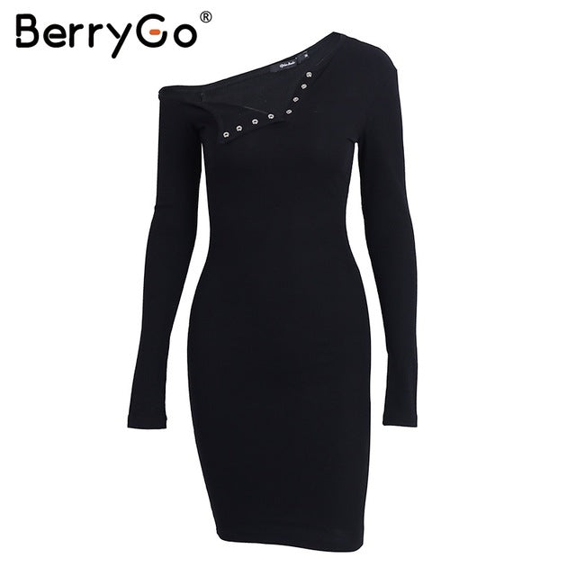 BerryGo Elegant one shoulder bodycon dress Slim long sleeve evening party club white dress Women autumn winter black   dress