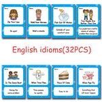 English Proverb Idioms Montessori Toys Learn English Pocket Card for Children Learning Educational English Word CARDS for Kid