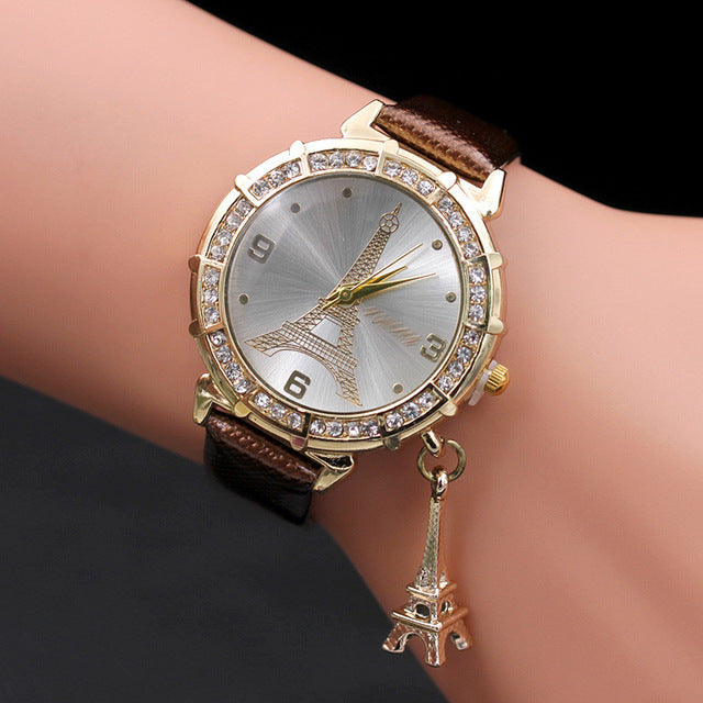 fashion casual watches Women Quartz Wrist The Eiffel Tower Rhinestone  pendant Wrist Watch