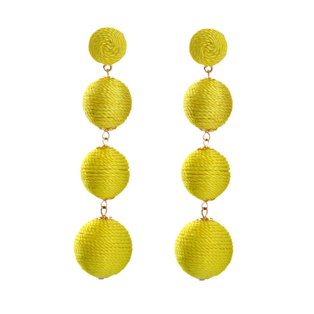 KISS ME 4 Colors Bohemian POM POM Ball Earrings Hanging Long Drop Earrings for Women Fashion Jewelry
