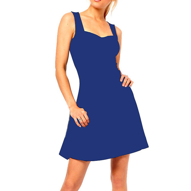 Women's Slim Fit Sleeveless Flare Mini Dress