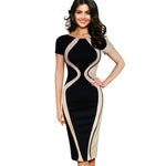 Casual Ssummer Women Colorblock Contrast Short Sleeve Office Business Pencil Dress Patchwork O-Neck Dresses B315