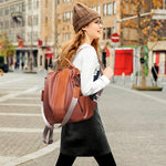 Women's Vintage Leather Multi-Function Handbag with Backpack Straps
