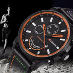 Men's Luxury Leather Band Sport Quartz Wristwatch