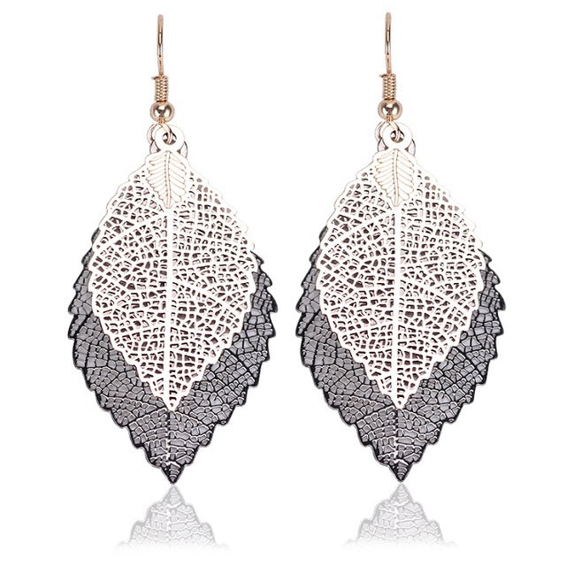 New Fashion Jewelry Women Rose Gold Color Multicolor Double Leaf Hollow Earrings Hanging Long Dangle Drop Earings Duftgold